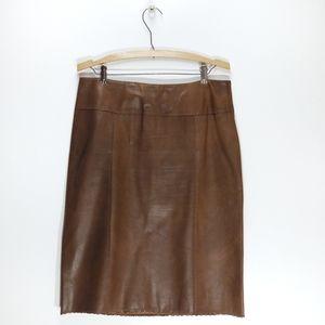 Danier   Leather Pencil Skirt Scalloped Hem